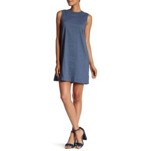 Theory Keshelle Lace Up Back Linen Dress in Blue 6